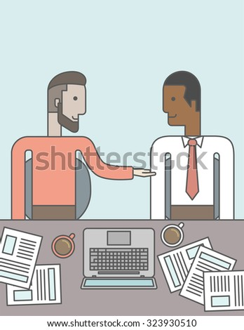 Two businessmen sitting while talking in front of laptop and documents. Business partnership concept. Vector line design illustration. Vertical layout with a text space. - stock vector