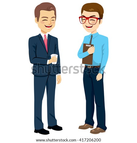 Two businessmen standing talking and chatting on break time - stock vector