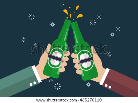 Two businessmen toasting bottle of beer. Vector Illustration