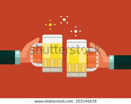 Two businessmen toasting glasses of beer. Business successful and partnership concept. flat design. vector illustration - stock vector