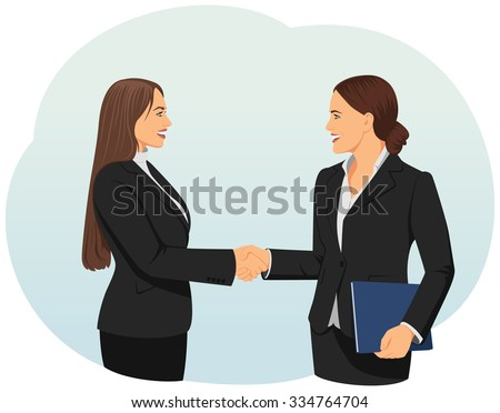 Two businesswomen giving handshake in an office. Teamwork and cooperation. - stock vector