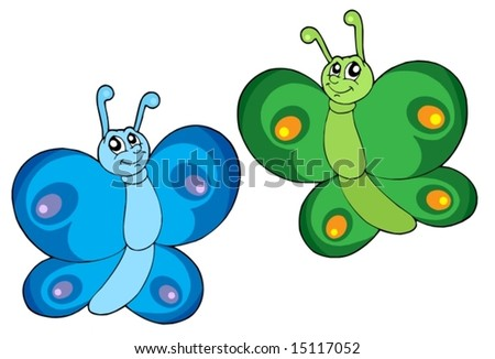Two butterflies on white background - vector illustration.