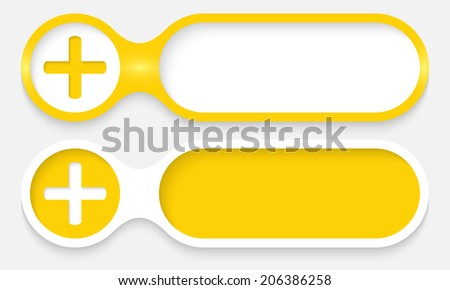 two buttons for entering text with plus symbol - stock vector