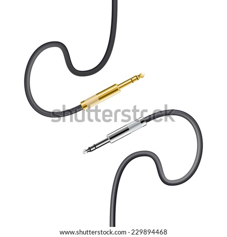 two cable jacks isolated on white - stock vector