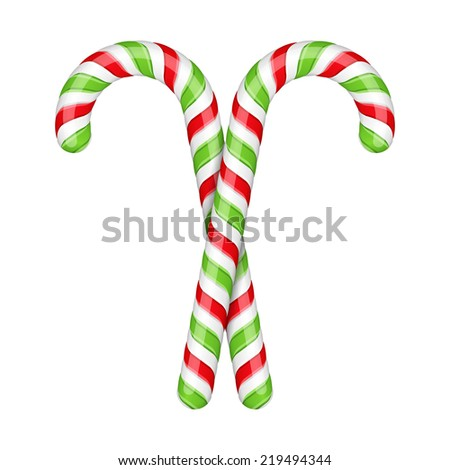 Two candy canes on white background, vector eps10 illustration - stock vector