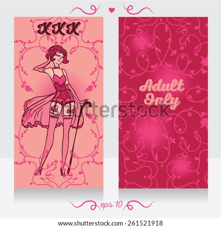 two cards in burlesque style, can be used as invitation for xxx party, banners for adult only content, or business card for sexshop - stock vector