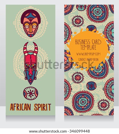 two cards in ethnic african style, vector illustration - stock vector