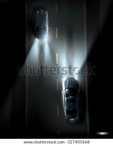 Two cars driving on a dark night road. High quality vector illustration.  Each car  is in different group so its easy to move up or down. - stock vector