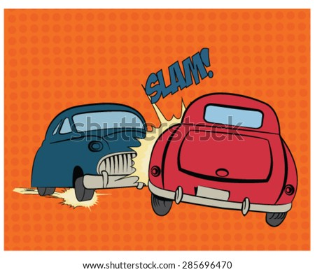 Two cars in an accident  in a pop art, comic style  - stock vector