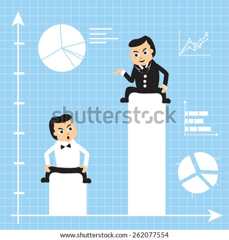 Two cartoon businessmen on growing charts: one is much more successful than the other. - stock vector