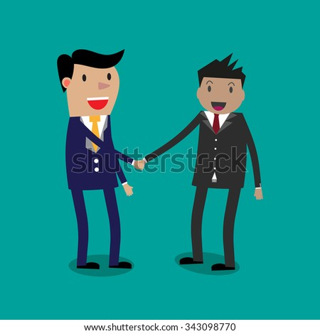 Two Cartoon Businessmen shaking hands. vector illustration on green background. shaking hands. successful transaction - stock vector