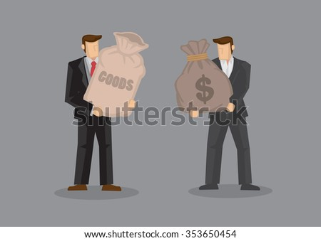 Two cartoon man, one holding a sack with label reads Goods and the other carrying a sack with dollar sign. Vector illustration on business trade and transaction concept isolated on grey background. - stock vector