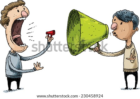 Two cartoon men communicate with contrasting small and large megaphones.