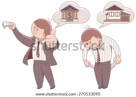 Two cartoon men. Mortgage to buy a home. Illustration in vector format - stock vector