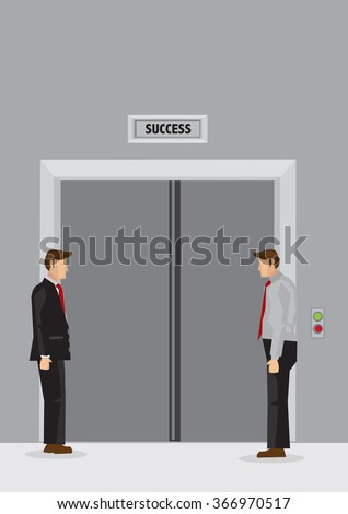 Two cartoon men standing idly in lift lobby and waiting for doors of elevator labeled Success to open. Creative vector illustration on waiting for success concept.