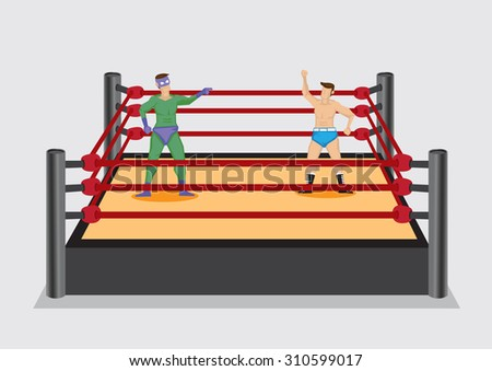 Two cartoon professional wrestlers, one dressed in fancy costume, standing in wrestling ring stage. Vector illustration isolated on plain grey background.