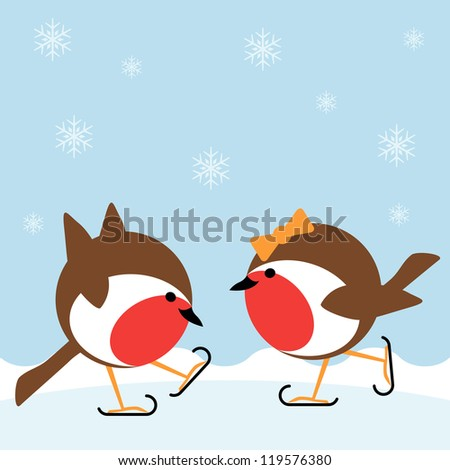 two cartoon robin redbreasts ice skating in winter