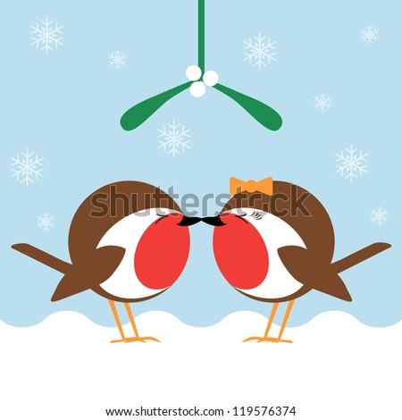 two cartoon robin redbreasts kissing under the mistletoe - stock vector