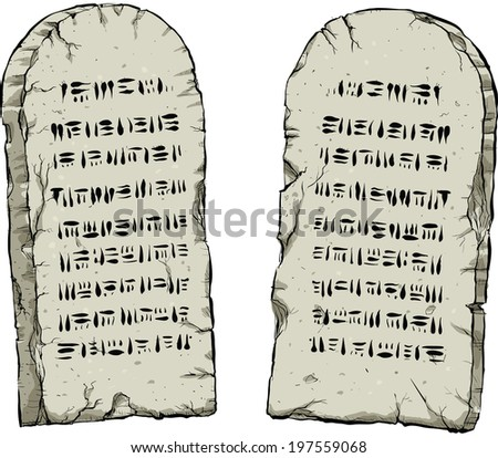 Two cartoon stone tablets containing ancient wisdom. - stock vector