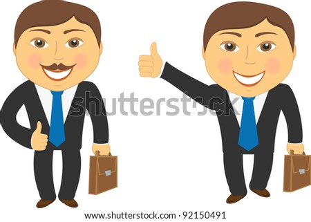 two cartoon successful businessman with portfolio and showing thumb up - stock vector