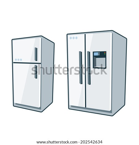 Two cartoon vector icons of refrigerator and side-by side refrigerator.  - stock vector