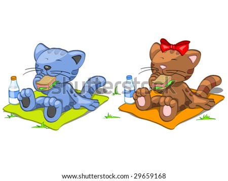two cats have lunch - stock vector