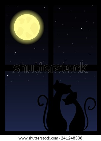 two cats in love looking at night sky through the window - stock vector