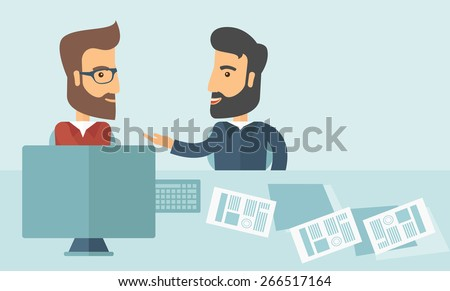 Two Caucasian businessmen with beard sitting while talking infront of laptop and documents agreeing on a business deal. Partnership, teamwork concept. A contemporary style with pastel palette soft - stock vector