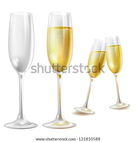 Two champagne glasses over white background