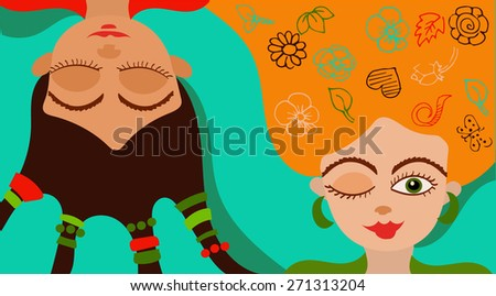 Two cheerful girlfriends - stock vector
