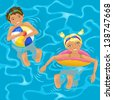 Two cheerful kids swimming in the pool or in the ocean - stock vector