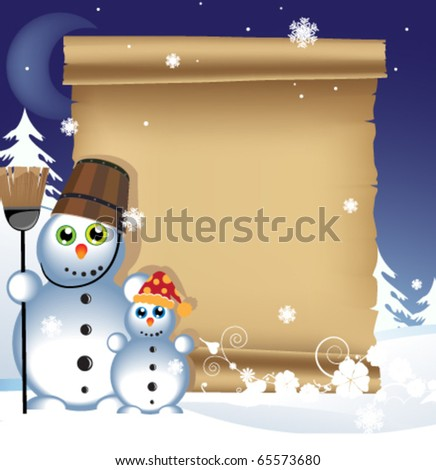 Two cheerful snowmen and ancient manuscript on snowy background - stock vector