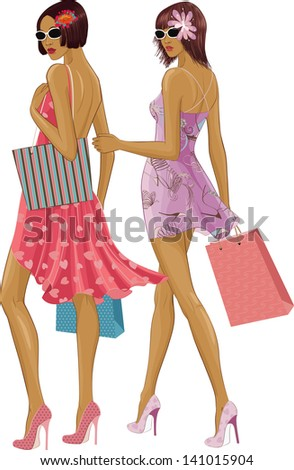 Two chic young women with shopping bags isolated over white background. Under sunglasses the faces are completely painted. - stock vector