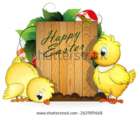 Two chickens and painted Easter eggs with leaves and wooden background