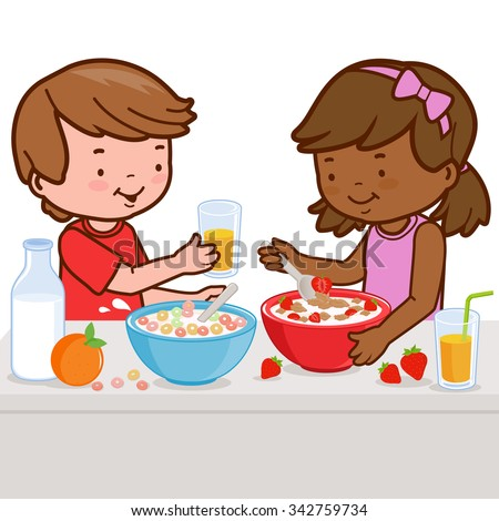 Two children, a girl and a boy enjoy their healthy breakfast of cereal, milk, juice, and fruits. - stock vector