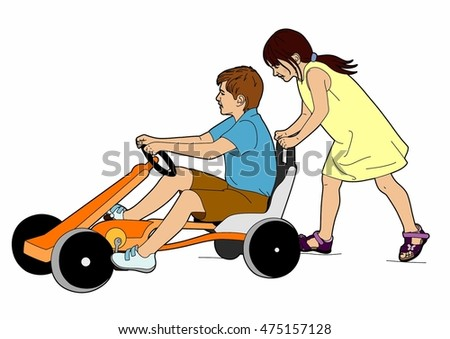 Two children and karting