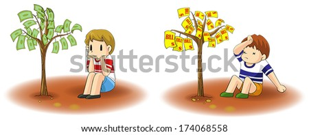 Two children is growing a diversity tree. An income and a debt tree, create by vector