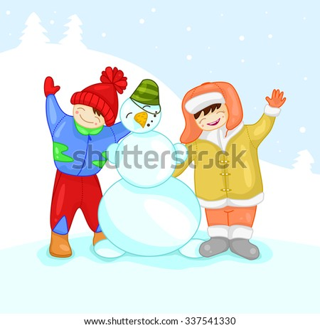 Two children with a snowman. Mountain with the fir trees on the background. - stock vector