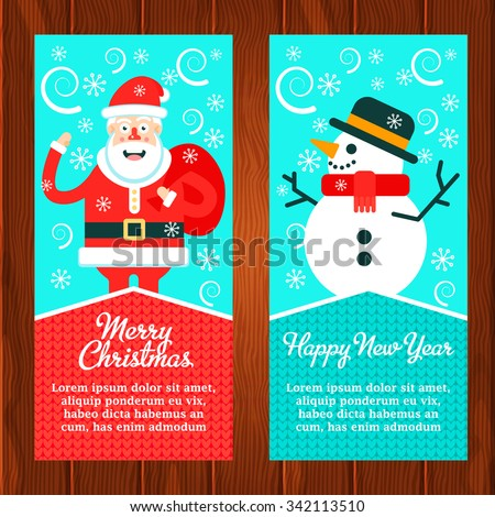Two christmas banners with santa claus and snowman saved on wooden texture. Fully editable vector illustration.  - stock vector