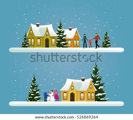 Two Christmas banners with winter town