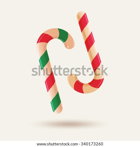 Two christmas candy canes isolated on white background. Vector illustration for your artwork, banner, posters, greeting card - stock vector