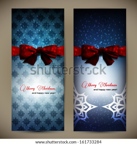 two christmas cards  with a red ribbon - stock vector