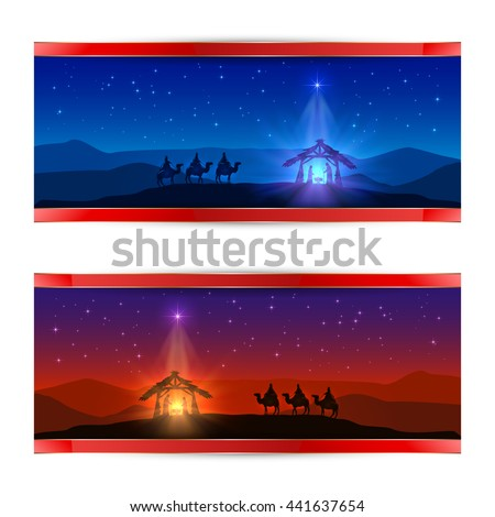 Two Christmas cards with Christmas star, birth of Jesus and three wise men, illustration. - stock vector