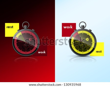 two chronometers, symbolize the rest and work - stock vector