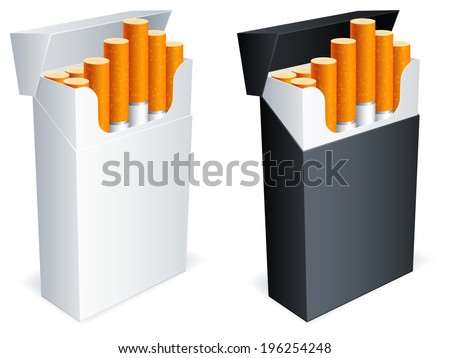 Two cigarette packs with cigarettes. - stock vector