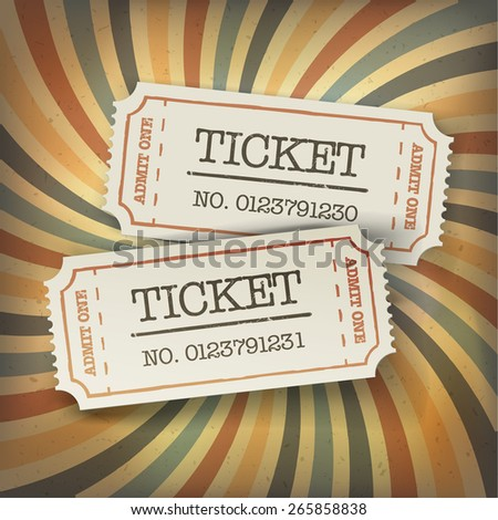 Two cinema tickets. On retro sunburst background - stock vector