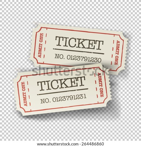 Two cinema tickets (pair). Isolated on transparent background, vector illustration. - stock vector