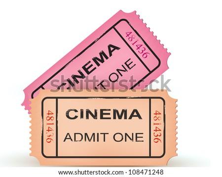 Two cinema tickets. Vector illustration - stock vector