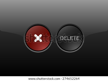 Two circles as modern glossy buttons DELETE. Vector icons. - stock vector