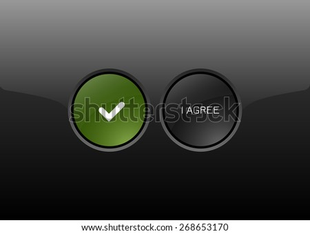 Two circles as modern glossy buttons I AGREE. Vector icons. - stock vector
